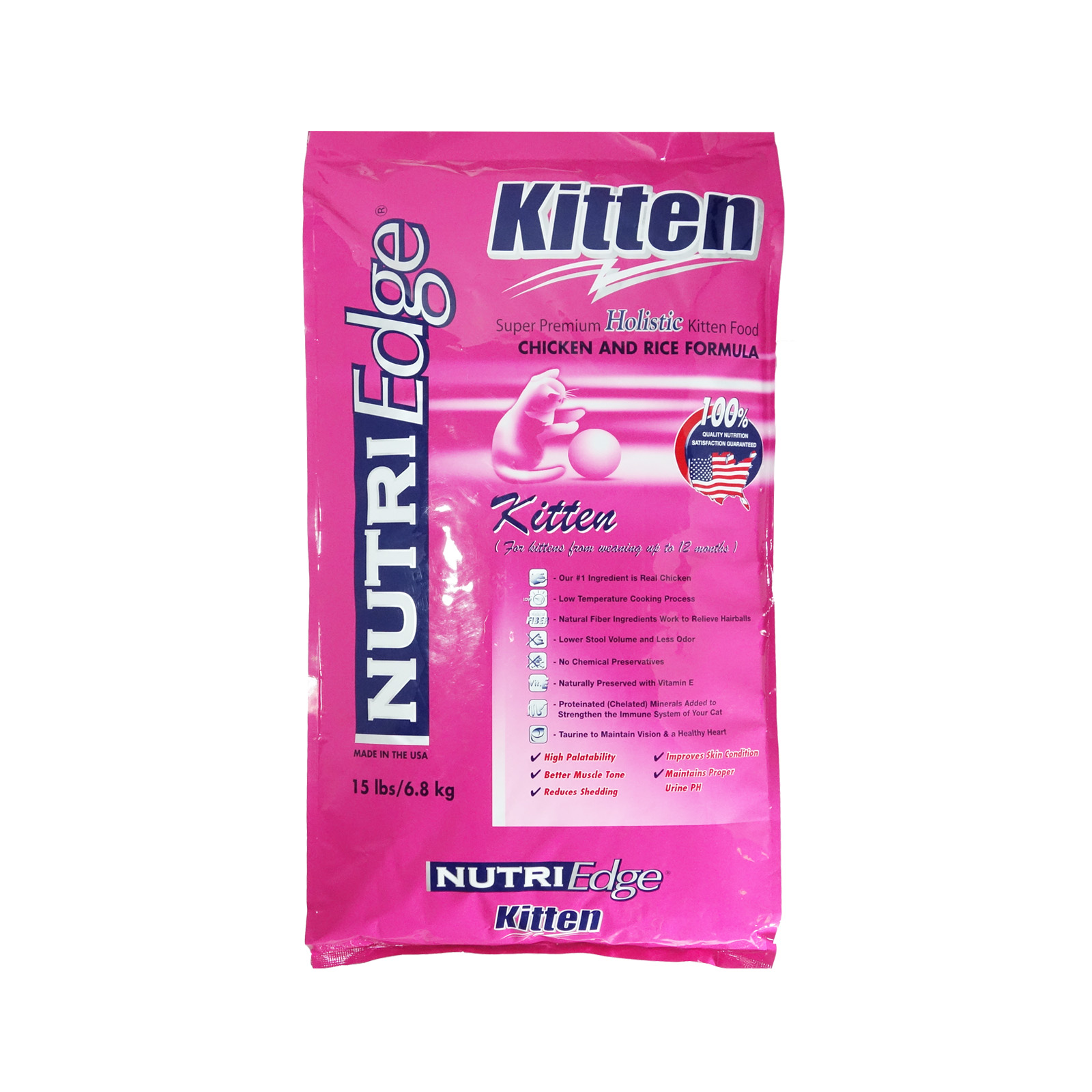 Nutri Edge Holistic Kitten Chicken & Rice Dry Cat Food  6.8kg (15lbs)