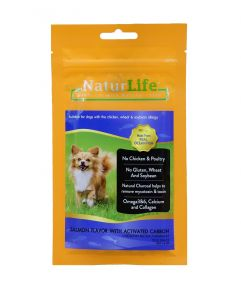 Naturlife Dog Snack Smoked Salmon Flavor with Activated Carbon Dog Treat